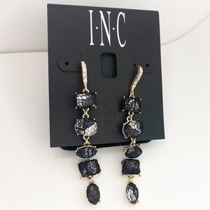 INC GOLD Black lace trend Hook Linear Drop Earring